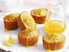 Orange and poppy seed friands recipe - By Woman& Day, Sweet, fluffy and golden, these beautiful orange and poppy seed friands are wonderful served topped with a oozy citrus syrup, keeping the cakes deliciously moist. Almond Recipes, Baking Recipes, Cake Recipes, Dessert Recipes, Mini Tortillas, Tea Cakes, Mini Cakes, Food Cakes, Friands Recipe