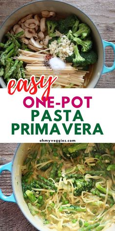 This easy one pot pasta primavera is a perfect easy weeknight dinner. This vegetarian pasta recipe is a family favorite. Loaded with fresh veggies and hearty pasta, it's an easy dinner idea for busy weeks. #vegetarian #pasta #onepotmeal