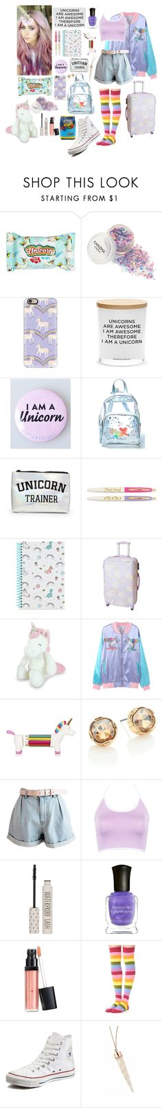 """The adventures of the traveling unicorn!"" by aby-ocampo ❤ liked on Polyvore featuring Casetify, Damselfly Candles, Current Mood, Forever 21, Night Owl Paper Goods, ABS by Allen Schwartz, WithChic, Topshop, Deborah Lippmann and Laura Geller"