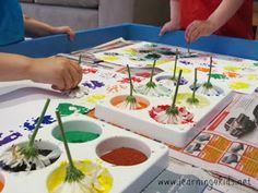 Spring Craft: Painting with Flowers - Parkland Players - Coquitlam Child Care Center - Group Daycare, Infant Toddler, Reggio Emilia Approach, Before After School Care Spring Activities, Toddler Activities, Preschool Activities, Easy Toddler Crafts, Toddler Art, Infant Toddler, Art For Kids, Crafts For Kids, 4 Kids