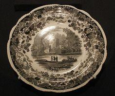 "Enoch Wood and Sons (1819-1846). Plate, ""Natural Bridge, Virginia,"" ca. 1840. Earthenware"