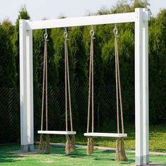 Backyard swings, Backyard for kids, Backyard decor, Backyard playground, Garden … – Modern Design - Modern Backyard Swings, Backyard Playground, Backyard For Kids, Backyard Projects, Outdoor Projects, Backyard Patio, Backyard Landscaping, Outdoor Decor, Pergola Swing