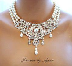 Bridal statement necklace, bridal bib necklace, wedding jewelry, pearl necklace, rhinestone necklace