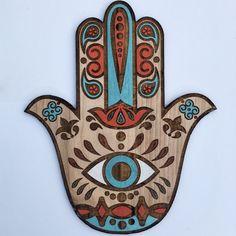 Boho Hamsa hermosa arte de pared mano pintada protección