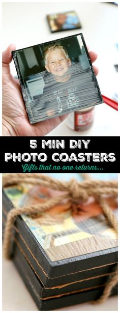 DIY Photo Coasters : 5 minutes of Crafting for a gift that never gets returned, tell them you love them with photographs
