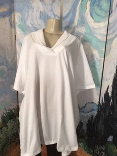 ROAMAN'S PLUS 5X NEW WHITE SHAWL COLLAR 100% COTTON SHORT SLEEVE TUNIC TOP #Roamans #Tunic #Casual