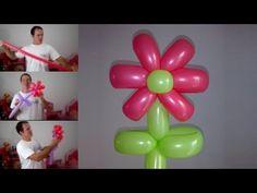 como hacer flores con globos largos - globoflexia facil - como hacer una flor con globos - YouTube