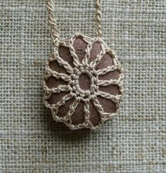 Your marketplace to buy and sell handmade items. River Rock by TheTreeFolkHollow - Crochet Stone, Knit Crochet, Crochet Crafts, Crochet Projects, Rock Necklace, Stone Necklace, Pendant Necklace, Confection Au Crochet, Selling Handmade Items