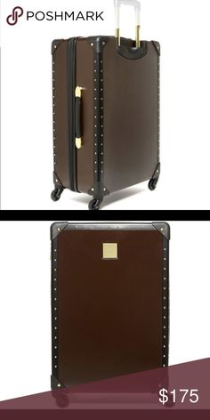 """Vince Camuto 24"""" Suitcase / Luggage Sold out in this color (the one place I saw it still available you had to buy all 3 pieces and was over $500). Brown and black with gold accents. 24"""" hardside spinner luggage. Plastic still covering gold plate. Tags still attached. Brand new!!!  I bought this for a trip and never ended up using it. Trying to clean out my closet from unused things, so it's got to go... Vince Camuto Bags Travel Bags"""