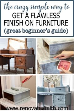 Whether your style is whimsical, funky or farmhouse, here's the easiest way to refinish antique furniture without brush strokes or streaks. This post & video tutorial also explains how to spray furniture knobs and handles with metallic spray paint. Included are color ideas & the best kind of paint for wood furniture: chalk paint vs. milk paint vs. latex paint. I also address if you can paint furniture without sanding. Chalk Paint Furniture, Furniture Projects, Furniture Makeover, Home Furniture, Furniture Design, Barbie Furniture, Garden Furniture, Furniture Refinishing, Furniture Knobs