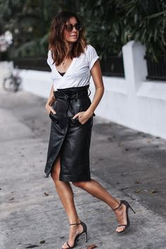 www.streetstylecity.blogspot.com Fashion inspired by the people in the street ootd look outfit sexy high heels legs woman girl leather skirt knee length leather skirt and white tshirt