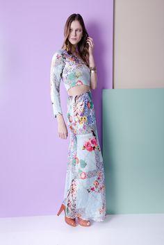 Vestido longo floral de ombro único