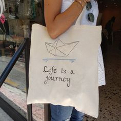 """Paper Boat """"Life Is A Journey"""", handpainted handcrafted bag, natural cotton bag colourfull design shopping bag, fashion, ideal gift. Friend Birthday Gifts, Gifts For Friends, Painted Bags, Hand Painted, Life Is A Journey, Stencil Painting, Cotton Bag, Shopping Bag, Boat"""
