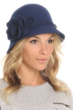Cindy Felt Hat In Navy - love the hat, the model needs to be slapped because of the look on her face...