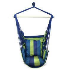Get the Sorbus Blue Hanging Rope Hammock Chair Swing Seat. This stylish hammock swing hangs anywhere and is easy to relocate. Hammock is paired with back support and two seat cushions. Rope Hammock, Hanging Hammock Chair, Indoor Hammock, Rope Swing, Hanging Rope, Swinging Chair, Indoor Outdoor, Outdoor Spaces, Outdoor Ideas