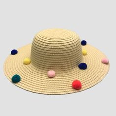 Image result for straw hat with pom poms