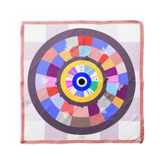 Cyclades Wheel Luck Silk Scarf is inspired from Greek Evil Eye to cast off the evil eye and protect from envy, jealousy and bad luck.