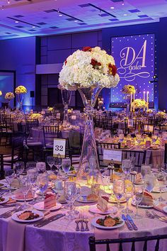 Texas State Illumni Gala 2016 | Custom Monogram Projeciton, Blue/Purple Uplighting, Floral Pinspotting | Photo by Jerry Hayes Photography - www.jerryhayesphoto.com | by IntelligentLightingDesign