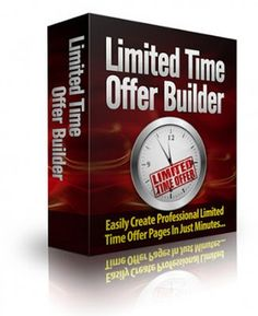 [GIVEAWAY] Limited Time Offer Builder [SOFTWARE]     Limited Time Offer Builder     Finally! You Can Easily Create Limited Time Offers In Just Minutes!     If you want to make money online, this piece of software is a huge help for your online business.     Here Are The Main Features:     ☑ Set Your Offers To Expire To The Exact Minute.   ☑ Easy To Use, Simply Fill-In-The Blanks.   ☑ No Installation Required.   ☑ Option To Add Offer Order Buttons Or Text.   ☑ Automatically Redirects To…