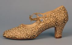 John Wanamaker Brocade Evening Shoe ca. 1920s silk, metallic thread, rhinestone, leather