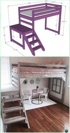"DIY Free Camp Loft Bed with Stairs (Junior Height!) Materials needed: 14 – 2x4 @ 8 feet long 4 – 2x6 @ 8 feet long 2 – 2x2 @ 8 feet long 1 – 1x2 @ 8 feet long 2 ½"" PH screws  Step by Step Printable Directions here--> http://www.ana-white.com/2012/07/plans/camp-loft-bed-stair-junior-height"