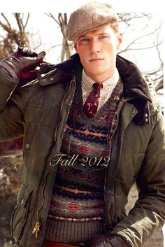 love the sweater - Ralph Lauren Fall Just all of it. ring it out, wrap it up ill take it :) Rugged Style, Tattersall Shirt, Ivy Style, Men's Style, Style Men, Country Casual, Country Attire, Waxed Cotton Jacket, Barbour Jacket