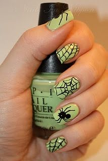 halloween nail polish: spider and spider web. green and black. doing this!!