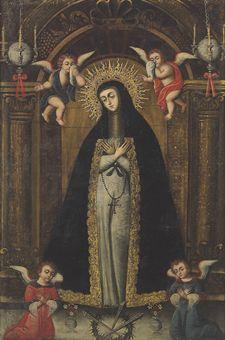 Anonymous (Cuzco School early 18th Century)  La Virgen de la Soledad  oil on canvas  64 x 43¼ in. (163 x 110 cm.)