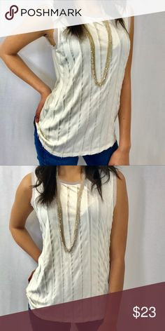 Cream Stripe Chiffon Detail Blouse This cream top is cotton with chiffon detailing down the front. Very soft, comfortable and light weight. The sleeves and neckline are lines with chiffon that is slightly frayed to give a more casual look. Banana Republic Tops Blouses