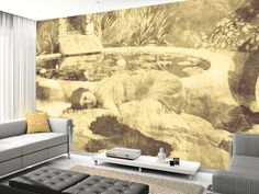 Past Time Paradise Sepia wall mural living room preview