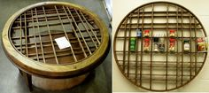 from the DiggersList Blog -- a broken cofee table grid becomes a spice rack