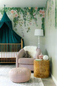 Feminine Modern Nursery with Tempaper Designs - Anne Sage Nursery Crafts, Nursery Room, Baby Room, Green Nursery Girl, Kids Room Wallpaper, Nursery Inspiration, Girl Room, Home Deco, Sage