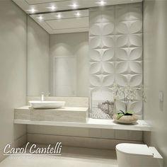 """4,118 Likes, 148 Comments - •  Arquiteta de Interiores (@carolcantelli_interiores) on Instagram: """"Lavabo Clean com Revestimento 3D!!  AMO!! Ahhh quem não viu no Snap hoje postei uma coleção de…"""""""