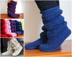 Crochet Diy These crochet slipper boots are perfect for lounging and snuggling.They make the… - Some things just never go out of style – these Crochet Hollydoll Slipper Boots being a pretty perfect example. Fashionable, fabulously comfortable and Crochet Diy, Crochet Crafts, Crochet Projects, Diy Crafts, Crochet Slipper Boots, Knitted Slippers, Ugg Slippers, Knitting Patterns, Crochet Patterns