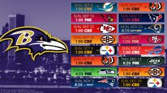 PSB has the latest schedule wallpapers for the Baltimore Ravens. Backgrounds are in high resolution and are available for iPhone, Android, Mac, and PC. Nfl Football Schedule, Baltimore Ravens Wallpapers, Logo Background, Wallpaper Pc, Ray Lewis, City, Desktop, Logos, Design