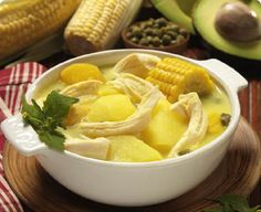 Named for its place of origin. Ajiaco Bogotano is a traditional dish from Bogota Colombia consisting of split chicken breast, potatoes and corn housed in a bath of traditional Colombian flavors and spices.