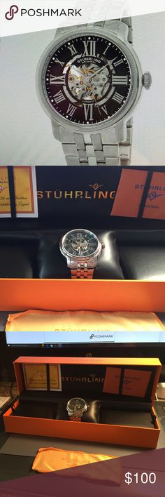 Men's Stuhrling Original watch - NEW - Atrium 812 Men's automatic watch. Silver tone on five row brushed and polished silver tone stainless steel band. Skeletonized dial. Roman numeral markers, Krysterna crystals (front & back), push button deploy any clasp, 5 ATM water resistant (50 meters/ 165 feet), polished rounded fixed bezel. Movement: Automatic movement, 20 jewels, ST 90650 Accessories Watches