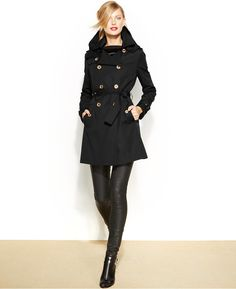 MICHAEL Michael Kors Removable-Liner Trench Coat - women's fashion (black clothing apparel, fall and winter style)