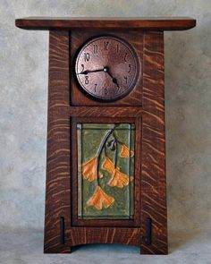 Ephraim Ginko Clock is the work of Terry Cross from The Arts and Crafts Studio Arts And Crafts For Adults, Arts And Crafts House, Arts And Crafts Projects, Home Crafts, Fun Projects, Wood Projects, Craftsman Clocks, Craftsman Decor, Craftsman Furniture