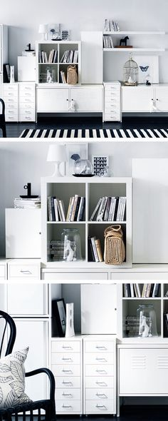 Just because it's not perfect looking doesn't mean it's not perfectly organised. Putting a lot of smaller units together as one total system is a great way to divide and conquer all your things.