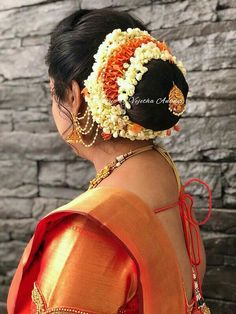 Pretty bridal hair style by Vejetha for Swank. Hair bun with fresh flowers. Indian Bun Hairstyles, Saree Hairstyles, Mom Hairstyles, Bridal Hair Buns, Indian Flowers, Salon Services, Bridal Hair Accessories, Bridal Makeup, Indian Beauty