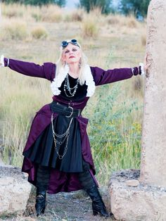 Steam punk with a pose suggested by a friend. Between two huge cement blocks behind our horse barn. Springville, Utah August 2013