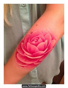 beautiful pink peony watercolor tattoo on lower arm - flower