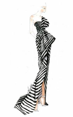 sketch of the one-shoulder black and white striped J. Mendel gown supermodel Chanel Iman wore to attend the 2013 Met Gala.: