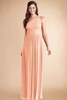 "Brides.com: Trending Now: Pretty Peach Bridesmaid Dresses. ""Rachel"" poly-chiffon one-shoulder bridesmaid dress in peach fuzz, $230, Donna Morgan"