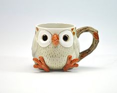 Your place to buy and sell all things handmade Adorable Vintage Owl Mug Cup - Fitz and Floyd - Ceramic Collectible - Retro Drinkware Ceramic Cups, Ceramic Pottery, Owl Mug, Cute Cups, Teapots And Cups, Mug Cup, Biscuit, Clay, Hand Painted
