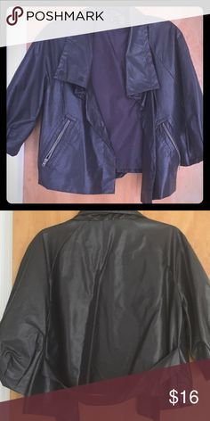 Jacket This is so cute! Versatile topper for any night out. Great dark gray color with a sheen. Shorter sleeve with belt, and zipper detail. Size medium. Jackets & Coats