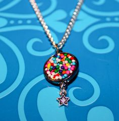 Candy sprinkle and star metal resin pendant by GreyGyrl on Etsy, $18.00