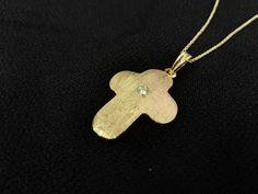 14Κ Gold Cross with Brilliant - 14Κ χρυσός Σταυρός με Μπριγιάν