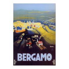 Poster de viagens do vintage, Bergamo, Italia de Zazzle.com.br